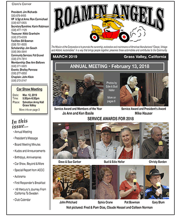 Roamin Angels Monthly Newsletter